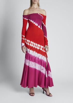 Altuzarra Tie-Dyed Off-the-Shoulder Bodycon Dress