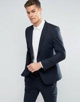 Asos Skinny Suit Jacket In Poplin In Navy