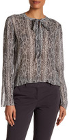 Theory Kimry Snake Print Tie Front Blouse