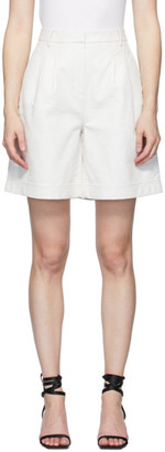 Tibi Off-White Lizard Pleated Shorts