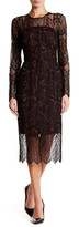 Rachel Roy Long Sleeve Lace Overlay Midi Dress