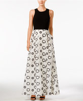 Calvin Klein Floral-Print Cross-Back Fit & Flare Gown