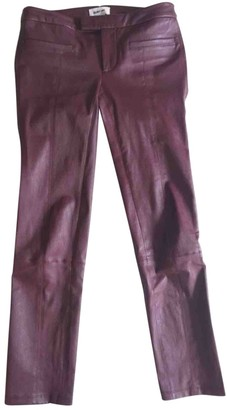Helmut Lang Burgundy Leather Trousers