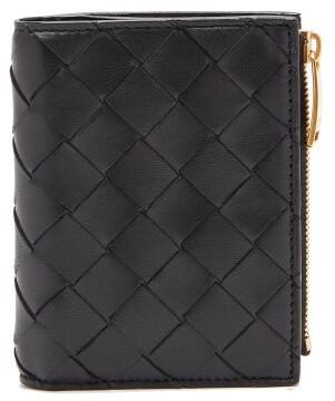 Bottega Veneta Top-zip Intrecciato-leather Wallet - Black