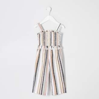 River Island Mini girls White stripe shirred jumpsuit