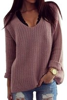 THANTH Sarin Mathews Womens Casual Hollow Knit VNeck Blouse Pullover Loose Tops Sweater M