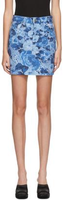 MSGM Blue Denim Floral Miniskirt