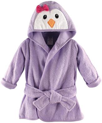 Luvable Friends Girls' Bath Robes Girl - Purple Animal Face Hooded Terry Bath Robe - Newborn