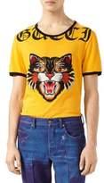 Gucci Cotton T-Shirt with Cat Applique