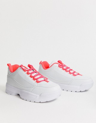 Truffle Collection chunky sneakers with neon laces