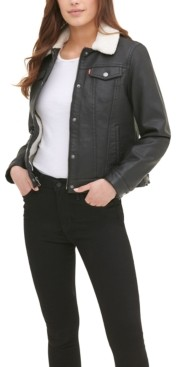 Levi's Women's Sherpa Lined Faux Leather Trucker Jacket