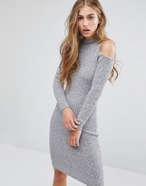 Miss Selfridge Cold Shoulder Rib Bodycon Dress