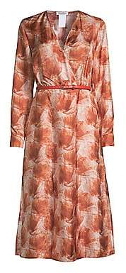 Max Mara Women's Cenere Abstract Floral Silk Belted Wrap Dress