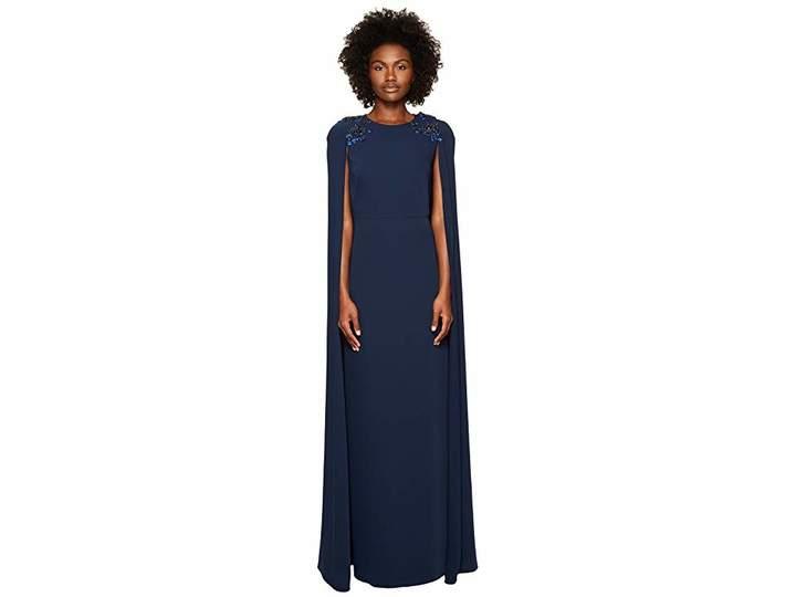 Marchesa Stretch Crepe Cape Gown w/ Beaded Shoulders Women's Dress