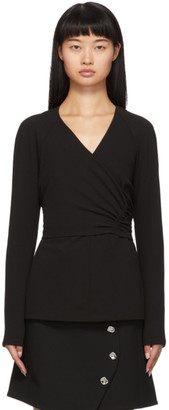 Tibi Black Crepe Structured Shirred Blouse