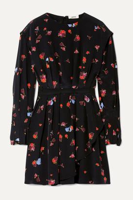 Jason Wu Pleated Floral-print Silk Crepe De Chine Mini Dress - Black