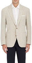 Luciano Barbera Men's Wool Chevron-Weave Two-Button Sportcoat-TAN