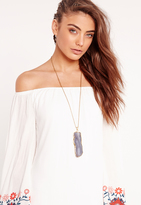 Missguided Large Square Stone Pendant Necklace Gold