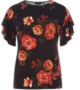 Dorothy Perkins Womens Black Floral Print Double Frill Sleeve Top- Black