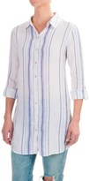 St Tropez West St. Tropez West Striped Linen Button-Down Tunic Shirt - Roll-Tab Long Sleeve (For Women)