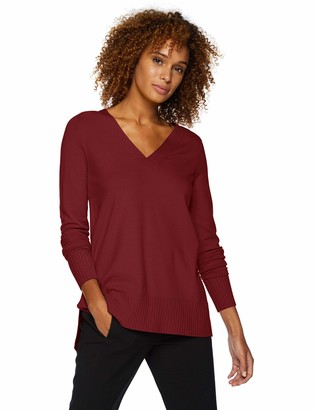 Lark & Ro Women's Premium Viscose Blend Long Sleeve Oversized Double V-Neck Sweater