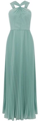 Oasis Twist neck pleated maxi dress