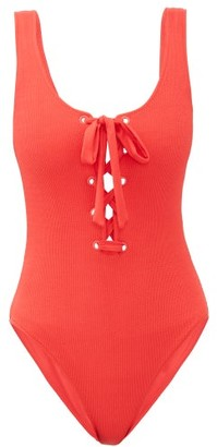Ganni Laced-up Ribbed Swimsuit - Womens - Red