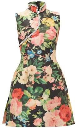 Richard Quinn Crystal-embellished Floral-print Taffeta Dress - Womens - Multi