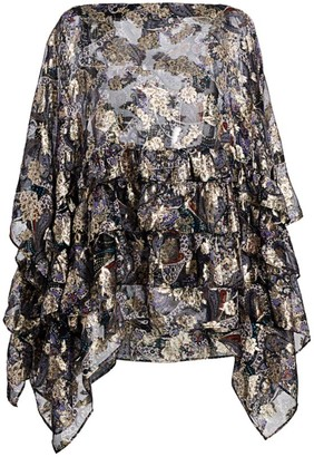 Etro Lurex Butterfly Ruffle Poncho