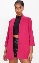 Belle Pink Woven Turn Up Sleeve Blazer