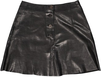 Plein Sud Jeans Black Leather Skirt for Women Vintage