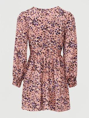 Missguided Leopard Print Plunge Skater Dress - Pink