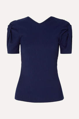 Maggie Marilyn + Net Sustain Sweet Like Honey Knotted Cutout Ribbed Jersey Top - Midnight blue