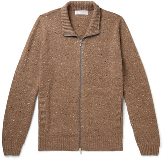 Brunello Cucinelli Donegal Virgin Wool-Blend Zip-Up Sweater
