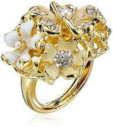 Kenneth Jay Lane Gold-Plated Flower Adjustable Ring, Size 5-7