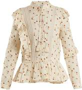 Sea Margaux floral-print ruffle-trimmed cotton blouse