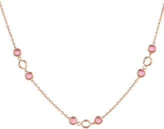 Latelita Milan Link Gemstone Necklace Rose Gold Pink Tourmaline