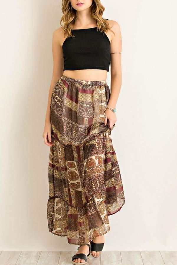 Entro Paisley-Print Maxi Skirt