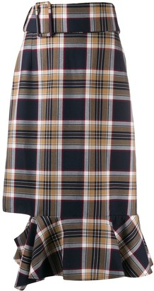 Rokh Belted Checked Skirt