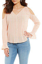 Jessica Simpson Lexa Cold Shoulder Stripe Peasant Top