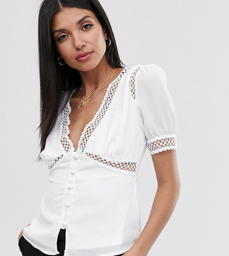 Fashion Union Tall short sleeved blouse with lace inserts-White