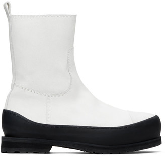 Ann Demeulemeester White Greased Suede Zip-Up Boots
