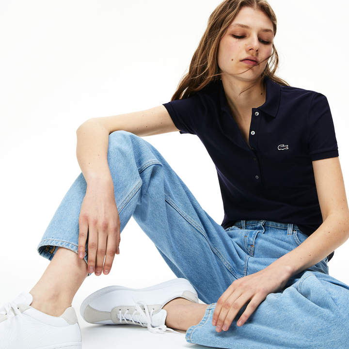 e8193e802c Women's Slim Fit Stretch Mini Cotton Pique Polo Shirt