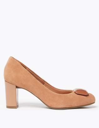 Marks and Spencer Suede Almond Toe Trim Court Shoes