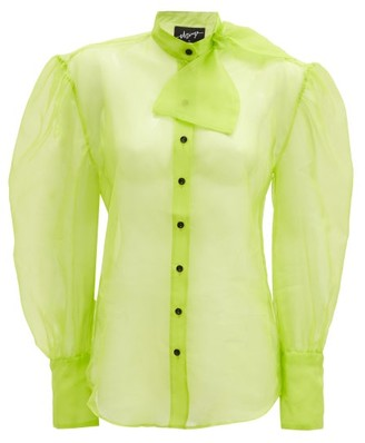 Elzinga - Neck-tie Silk-organza Blouse - Green