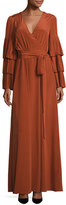 Co Pleated Tiered-Sleeve Wrap Gown, Burnt Sienna
