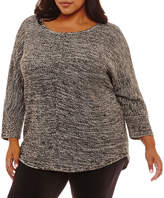 Boutique + + Long Sleeve Crew Neck Pullover Sweater-Plus