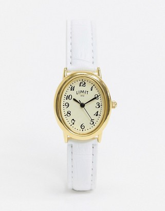 Limit faux leather watch in white with oval dial