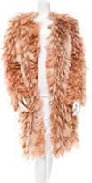 Roberto Cavalli Silk Feathered Coat