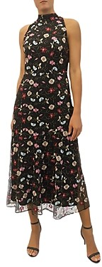 Sam Edelman High Neck Embroidered Mesh Dress